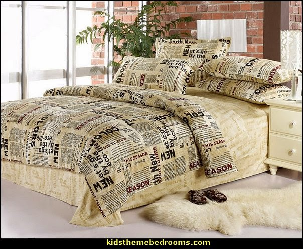 newsprint bedding - newsprint decor - decorating ideas with newsprint bedding - newsprint bedding - newspaper wallpaper - newsprint decor - newsprint murals - Newspaper print