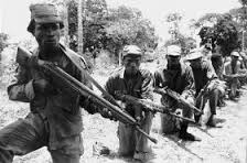 Biafran soldiers lining up in the frontiers