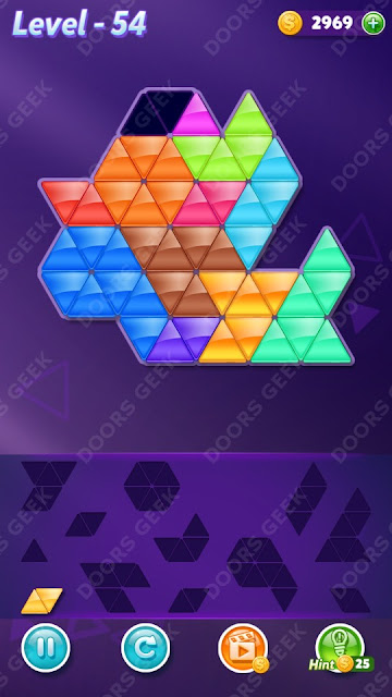 Block! Triangle Puzzle 12 Mania Level 54 Solution, Cheats, Walkthrough for Android, iPhone, iPad and iPod