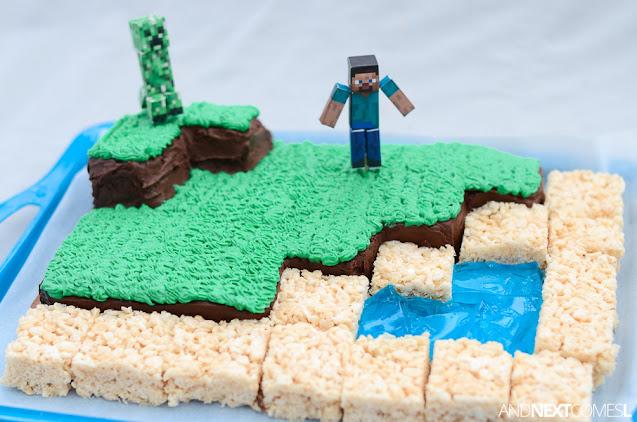 Homemade Minecraft birthday cake