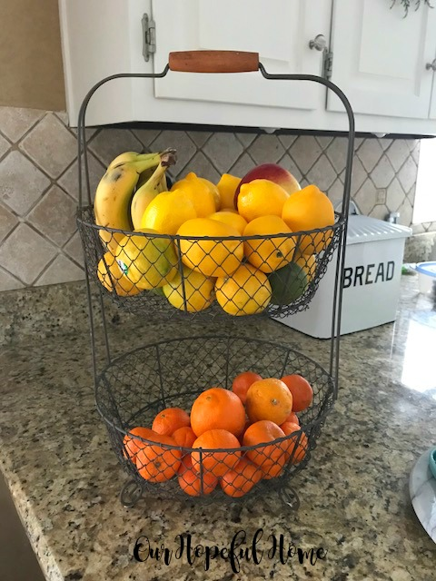 two tier farmhouse wire basket fruit storage