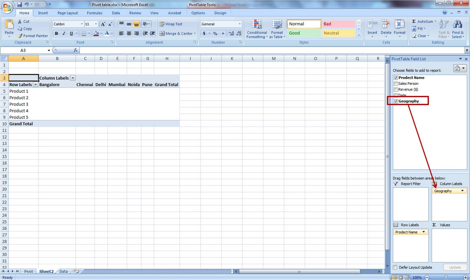 Excel Help Simple Method To Make Pivot Table