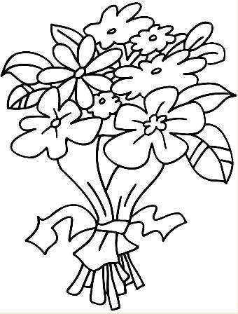 Dibujo de ramo de flores para colorear, pintar e imprimir