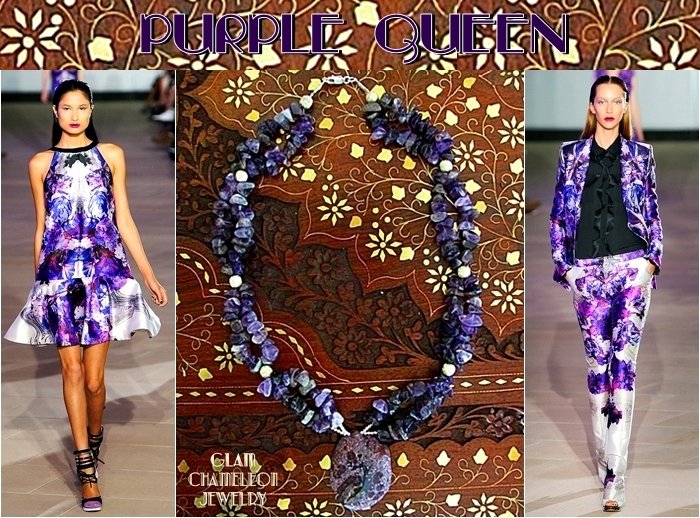 Glam Chameleon Jewelry amethyst chips and purple agate pendant statement necklace