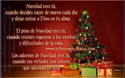 Navidad eres tú, cuando decides nacer de nuevo cada día y dejar entrar a Dios en tu alma.