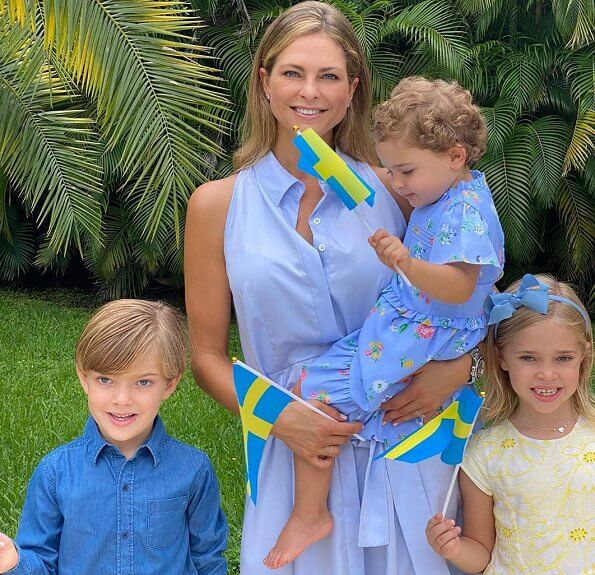 Princess Victoria in Rodebjer dress. Princess Madeleine, Princess Leonore, Princess Adrienne, Princess Estelle, Princess Sofia