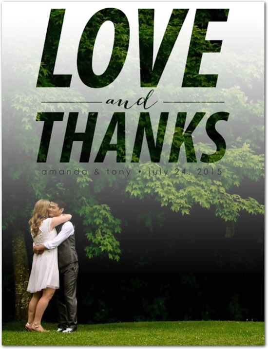 Loving Thanks thank you card / Wedding Paper Divas