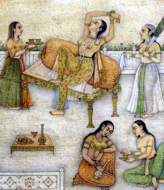 Mughal Princess with companions and wine