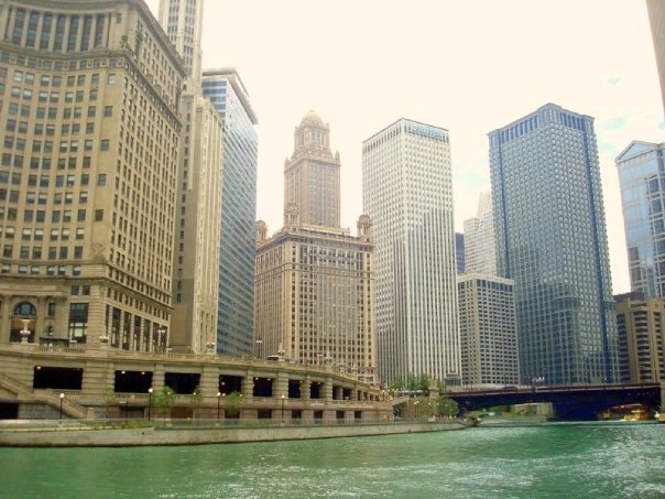 Downtown Chicago river and buildings by Hello Lovely Studio