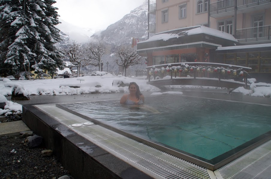 Hotel Belvedere Grindelwald Switzerland Hot Tub in Snow
