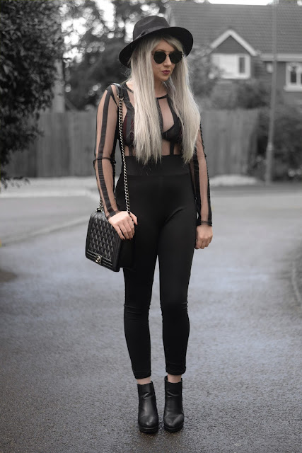Sammi Jackson - Dresslily Black Mesh Striped Jumpsuit / Primark Burgundy Velvet Bralet / Oasap Quilted Flap Bag / Topshop Alexy Boots / Primark Fedora / Zaful Sunglasses / Grey Hair