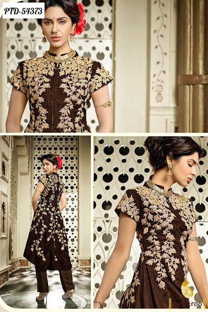 Indian fashion brown silk party wear salwar suit online collcetion with discount offer price
