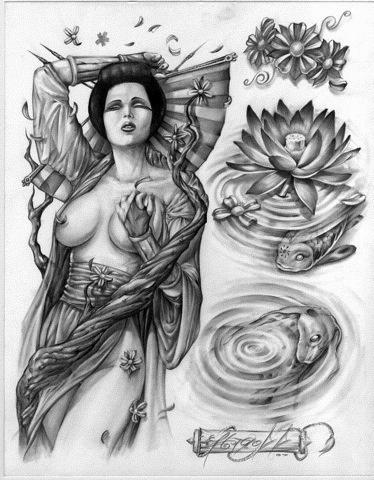 gheisa si nuferi desen pentru tatuaj
