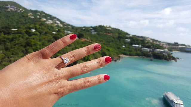 My engagement ring over the coast of the Virgin Islands