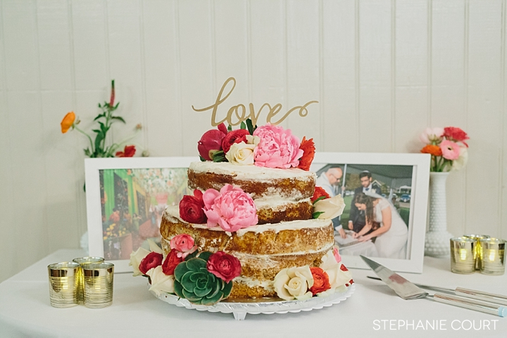 romantic naked wedding cake