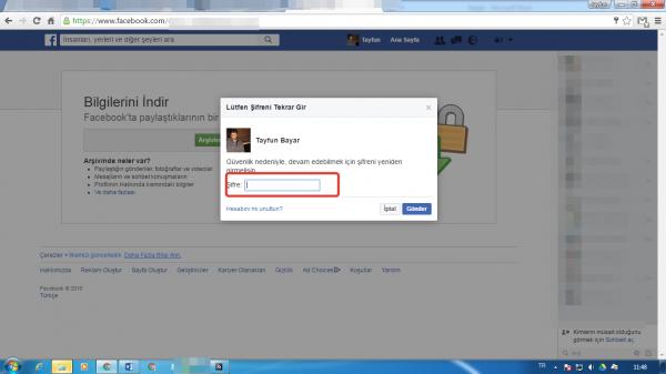 Facebook arsiv indirme
