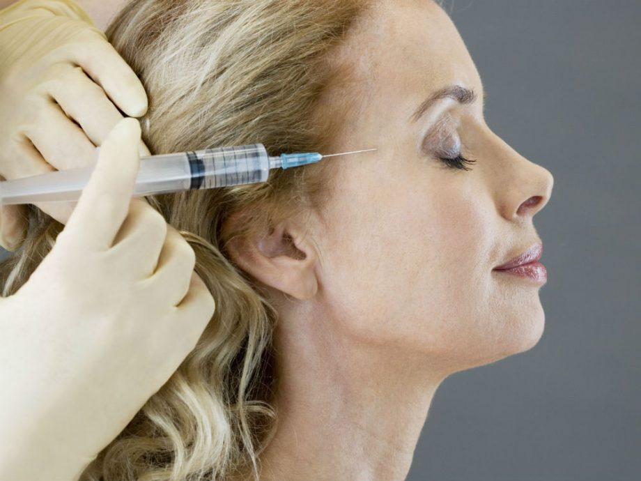 Botox, a neurotoxin, is commonly injected into the forehead or around the eyes to reduce the appearance of wrinkles by relaxing the muscles there.