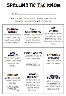 Debbie 39 s dabblings friday freebie spelling practice for Tic tac toe menu template