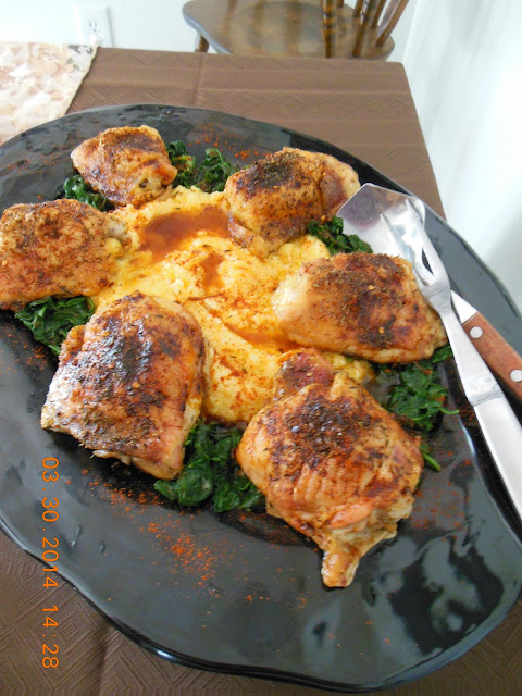 Pepper Thyme Chicken over Polenta with Bitter Greens, a Laurie Colwin recipe.