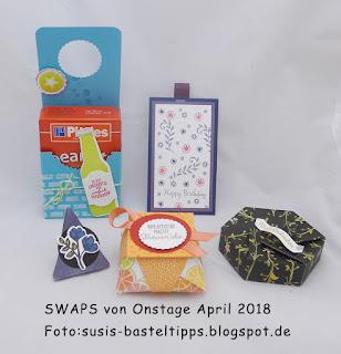 SWAPS von Onstage April 2018    Foto:susis-basteltipps.blogspot.de