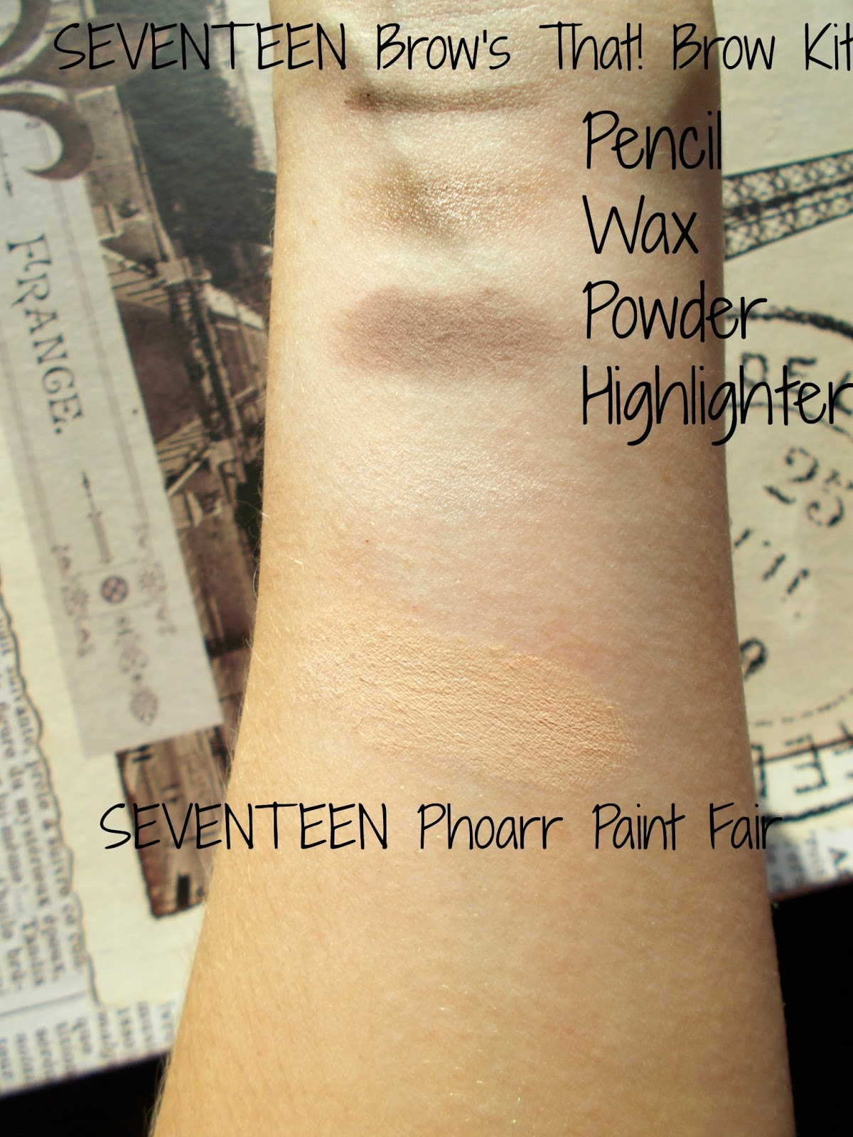 SEVENTEEN Brows that! brow kit phoarr paint fair swatches