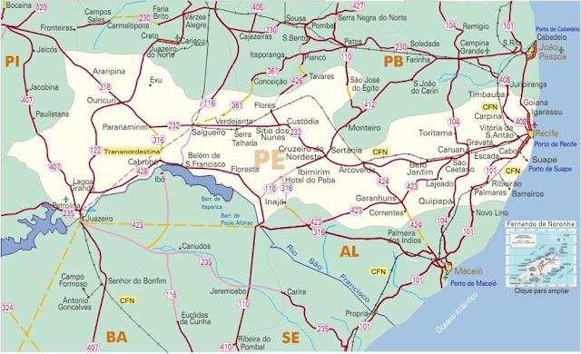 Mapa do estado de Pernambuco
