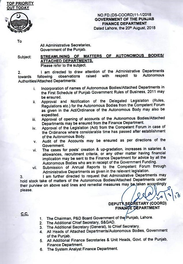 STREAMLINING OF MATTERS OF AUTONOMOUS BODIES / ATTACHED DEPARTMENTS BY GOVERNMENT OF THE PUNJAB