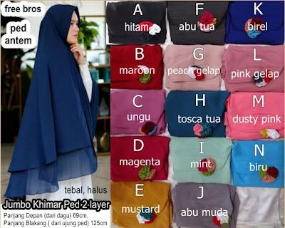 Grosir Jilbab Kerudung Hijab Jumbo Khimar 2 Layer