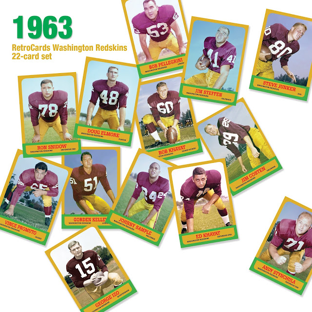 Topps 1963 Washington Redskins, RetroCards, custom cards that never were