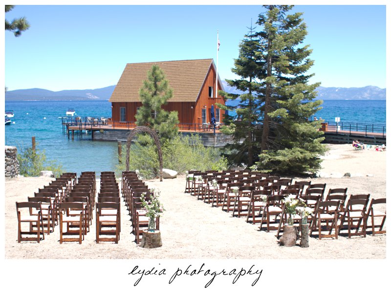 Ceremony Place At Vintage Chambers Landing Wedding In Tahoe California