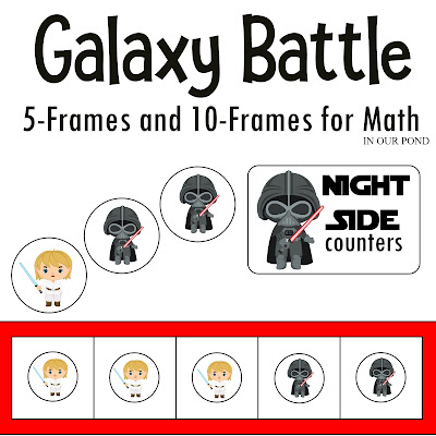 Galaxy Battle Math- Duel Forces Counters from In Our Pond #homeschooling #math #kindergarten #starwars #kindergartenmath #education #freeprintables