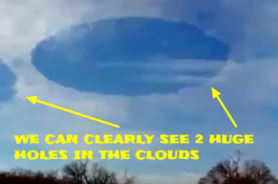 UFOs eating or evaporating clouds but could be a cloaked Mothership.