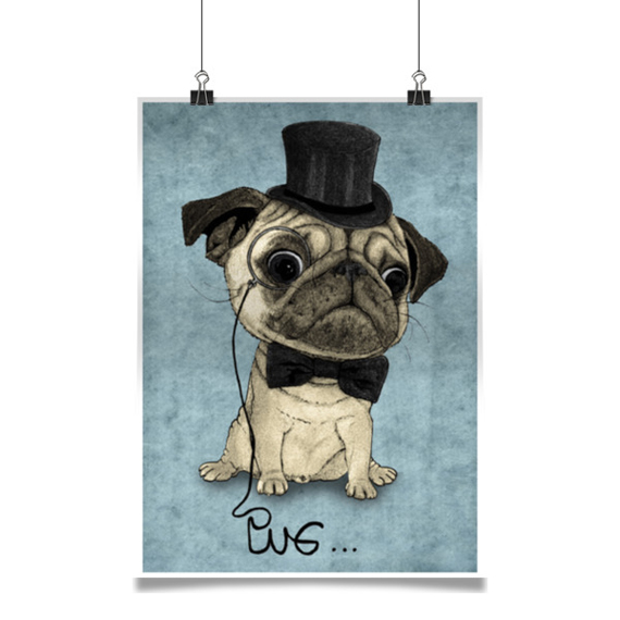 illustration in hipster style, dogs, pugs