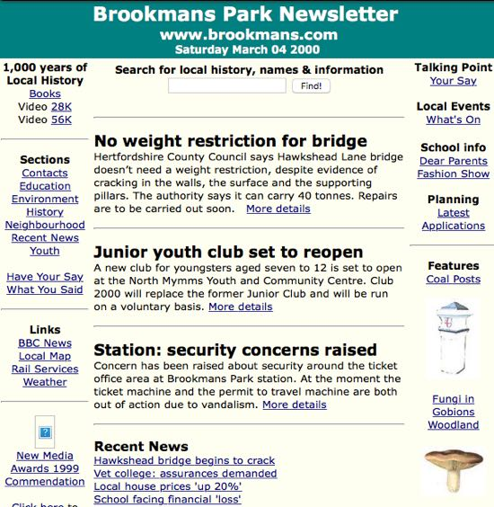 Screen grab image of The Brookmans Park Newsletter front page in March 2000