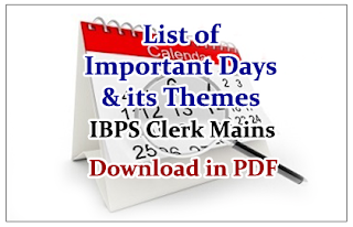 List of Important Days and its Themes for Clerical Mains- Download in PDF
