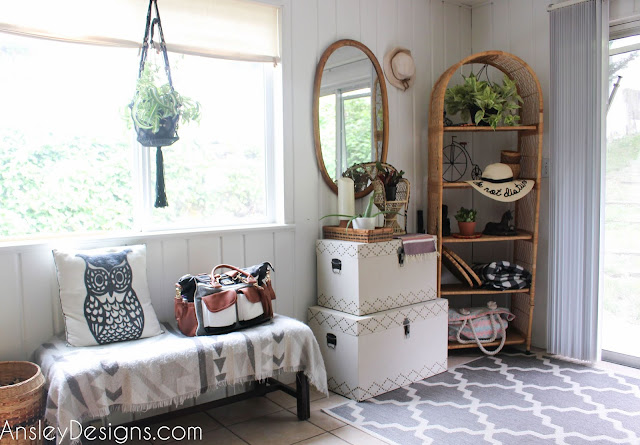 Neutral Boho Entryway! Vintage mirror wicker shelf