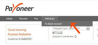 withdraw payoneer, menarik uang payoneer, payoneer, bank lokal
