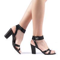 Sandale dama Alinos negre cu toc gros