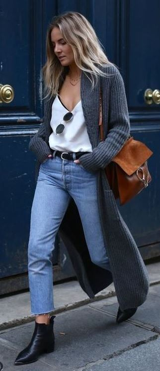 cute outfit / white top + bag + cardigan + jeans + boots