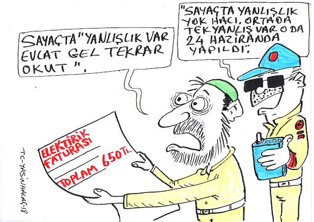 elektrik faturası karikatür