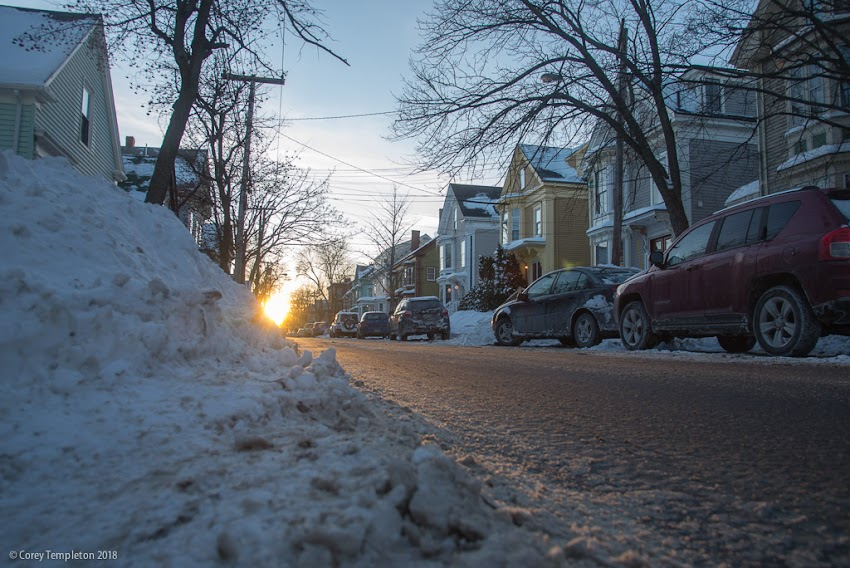 Portland, Maine USA January 2018 photo by Corey Templeton. The last rays of a sunset on Spring Street, in the West End.