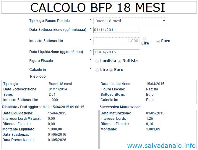Buoni fruttiferi Calcolo interessi BFP 18 mesi (Diciottomesi plus)