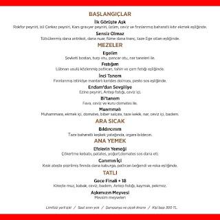 endam istanbul menü fiyatları