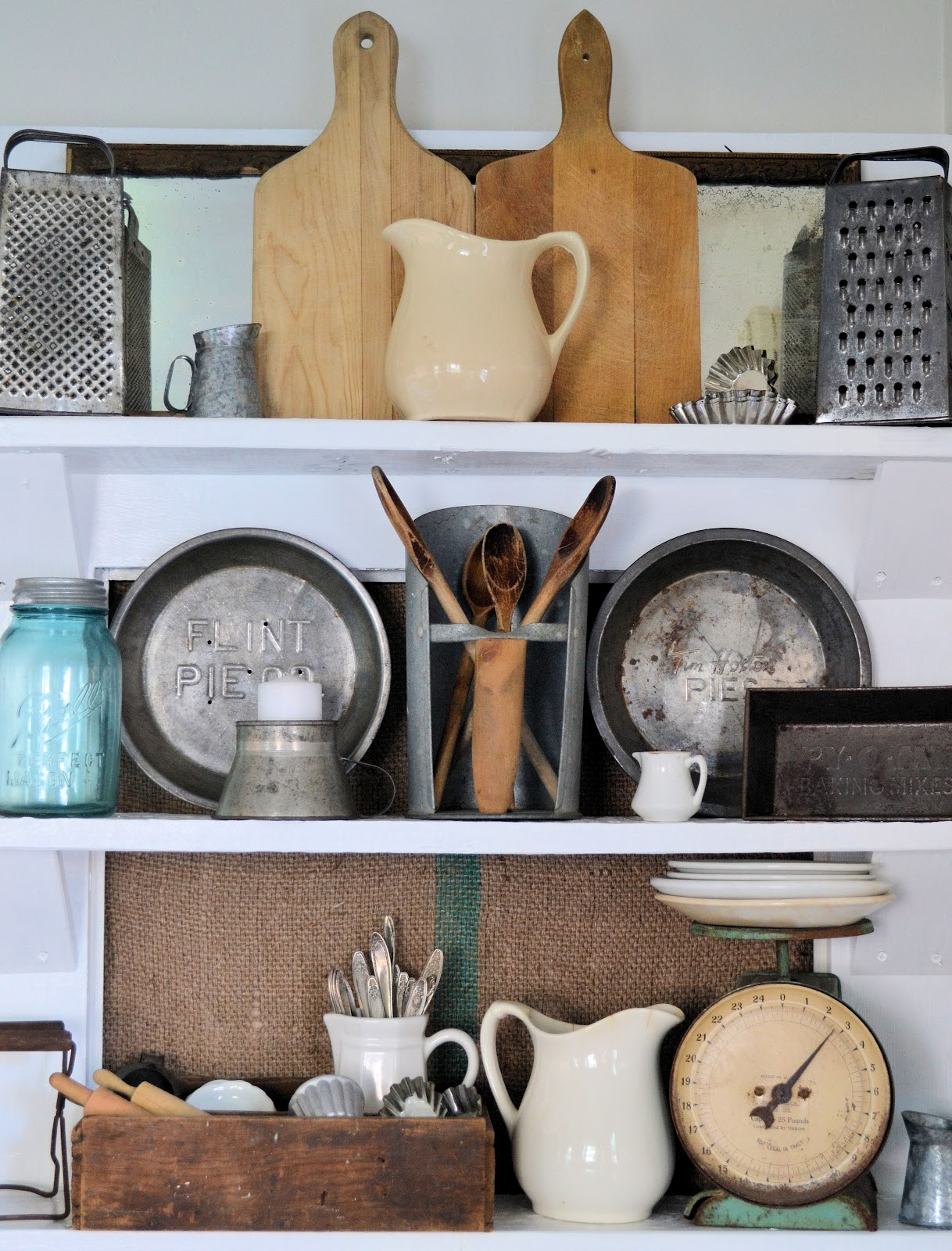 Old Door Turned Kitchen Shelving At Shabby Love