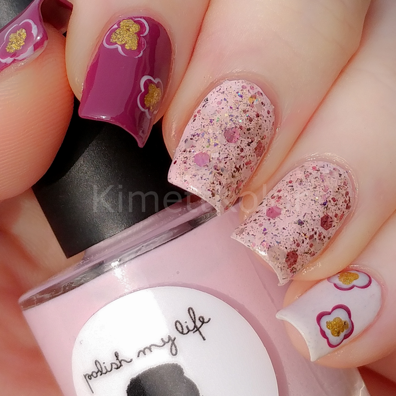 Kimett Kolor Nail Art Abstract Floral Spring Glitter