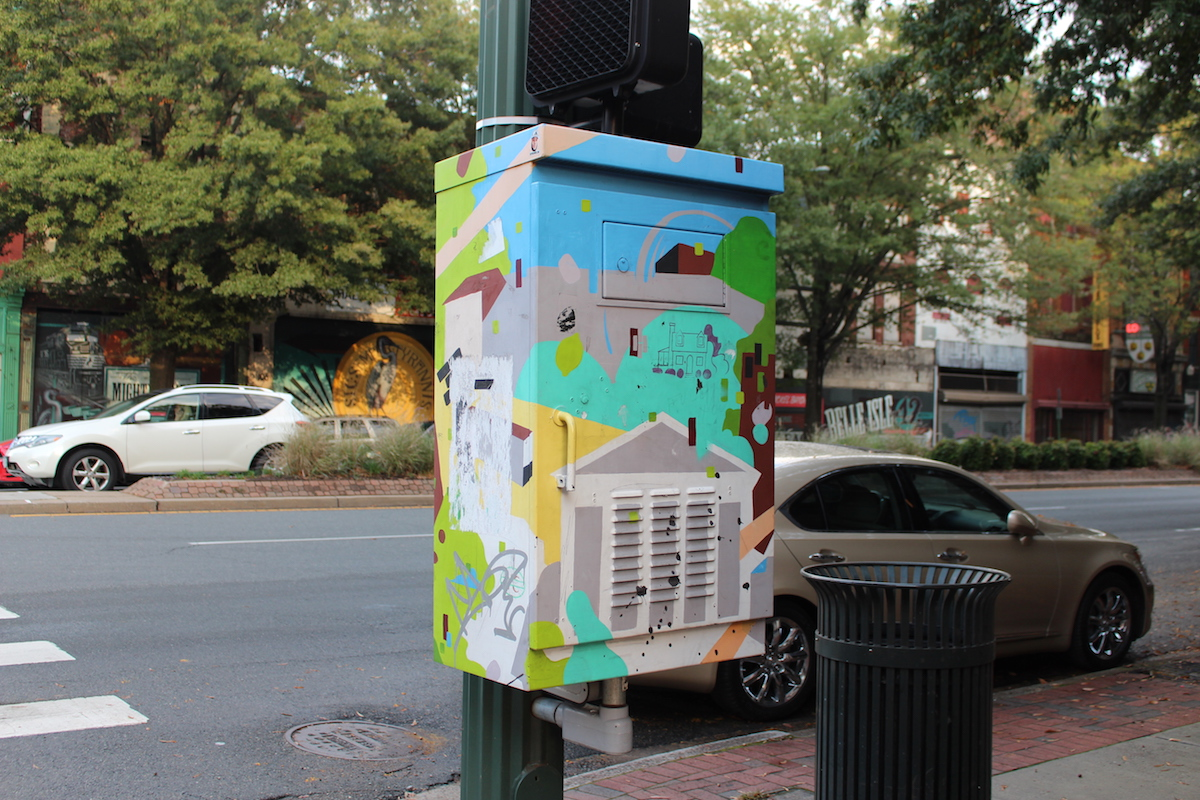 This is a shot of a artistic electric box in Richmond Virginia.