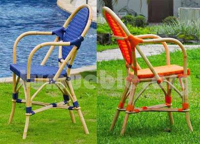 sillón para comedor hecho en caña de bambú y rattan sintético 6091