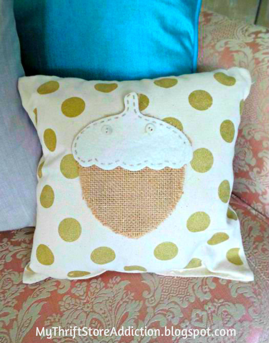 Polka dot acorn pillow