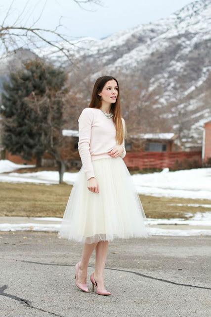 falda de tul larga pastel