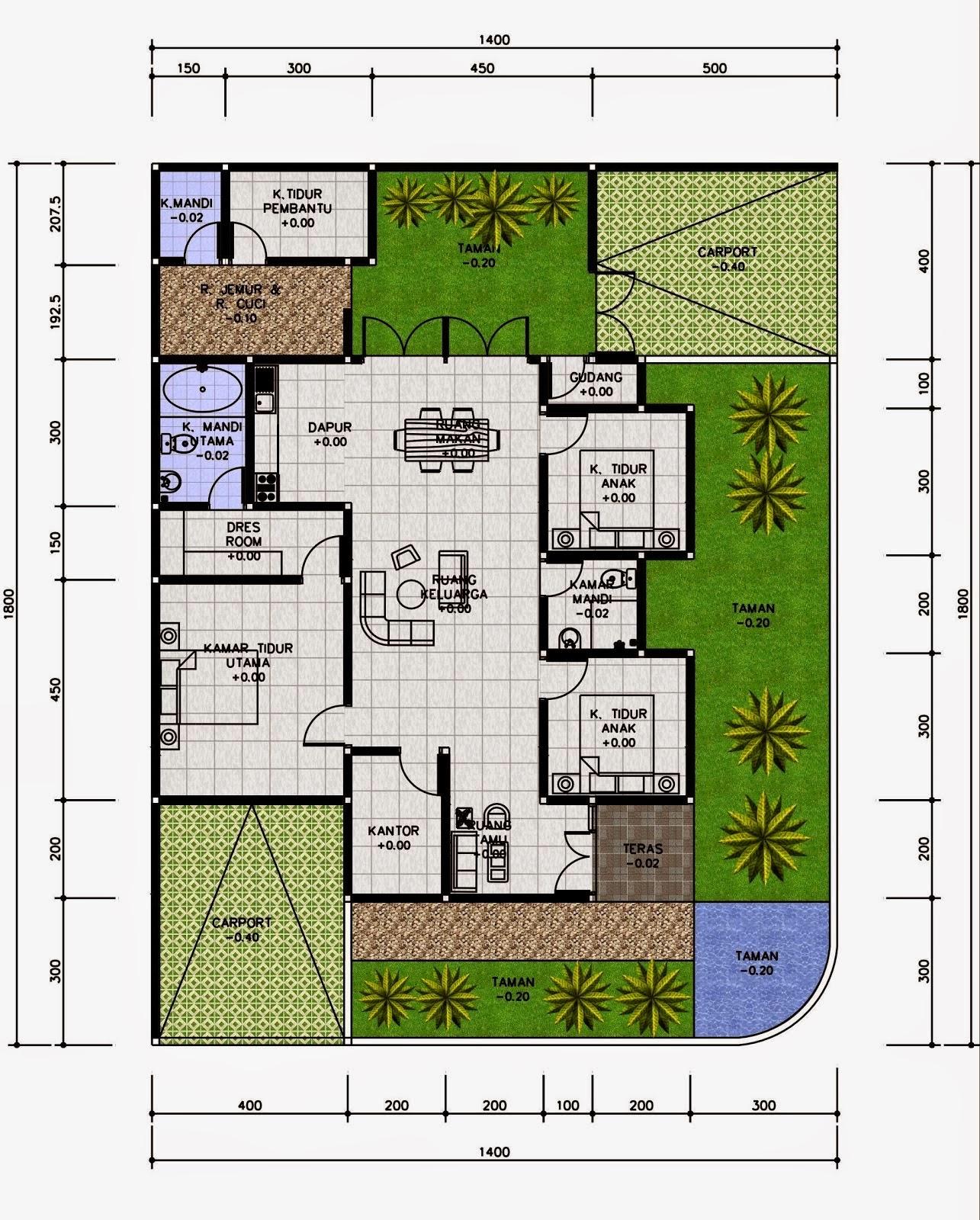 Denah Rumah 4 Kamar : denah, rumah, kamar, Rumah, Minimalis, Modern, Lantai, Kamar, Tidur, Desain